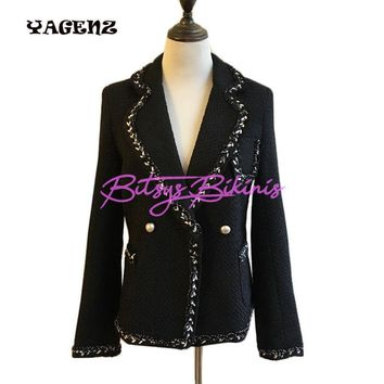 Black and White Tweed Wool Jacket Coat for Women
