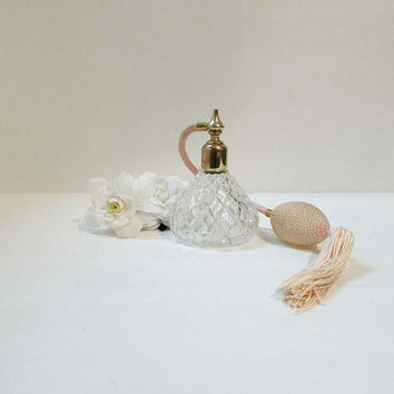 Vintage Pressed Glass Perfume Atomizer with Bulb Tassel Light Pink Vanity