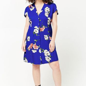 Plus Size Floral Print Shirt Dress