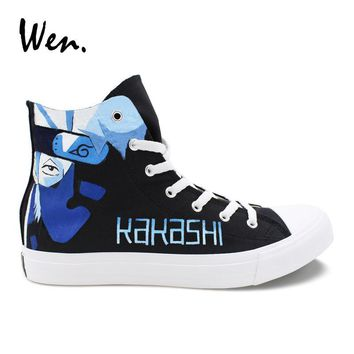Naruto Sasauke ninja Wen Customized Canvas Sneakers Man Plimsolls  Kakashi Lee Hand Painted Shoes Woman Casual Flat Young People Anime Loafers AT_81_8
