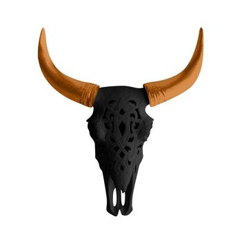 The Ledoux | Large Carved Cow Skull | Faux Taxidermy | Black + Bronze Horns Resin