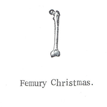 Femury Christmas Card 10 Pack | Skeleton Anatomy Medical Science Happy Holidays Gothic Humor Bone Pun Atheist Taxidermy Oddities Nerdy Weird