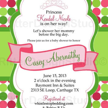 Green Pink Shabby Chic Baby Shower Invitation 2 - Printable