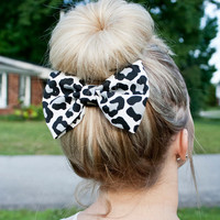 Black White and Grey Cheetah Print Fabric Hair by TheManeBowtique