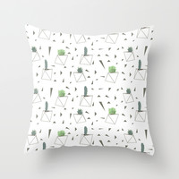 Succulents and Triangles Throw Pillow by Doucette Designs | Society6