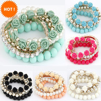 2015 Fashion Candy Color imitation pearl Rose Flower Multilayer Beads Stretch Charm Bracelet & Bangle For Women pulseras mujer