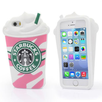 VIP New Cute 3D Starbucks Case Cover Silicone Cover phone Case For iPhone 5 5S 5G iphone 6