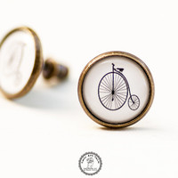 Old Bicycle Stud Earrings, Penny Farthing Bike Jewellry, Photo Jewelry, Art Jewelry, Post Earrings, Black White Earrings, High Wheel Bike