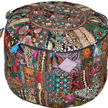 Black Bohemian pouf Ottoman Embroidered Footstool Decorative Tuffet bean bag banjara furniture Indian pouf foot stool chair cover pouffe