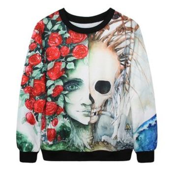Erlking Women's Rock Printing Skull Sweatshirts