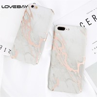 Lovebay Phone Case For iPhone 8 7 6 6s Plus Fashion Simple Crack Marble Hard PC Cover Cases For iPhone 8 Plus Protective Shell