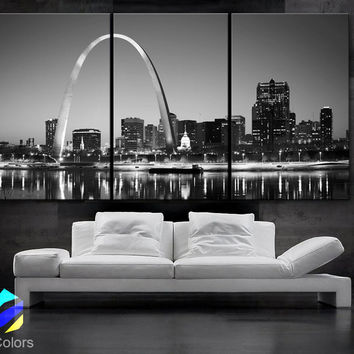 "LARGE 30""x 60"" 3 Panels Art Canvas Print beautiful St. louis Skyline Black & White City Missouri Wall Home (Included framed 1.5"" depth)"