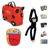 Melissa & Doug Red Suitcase Trunki and Red/Orange Saddlebag with Monkey and Trunki Stickers Set of 8 Items