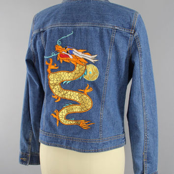SALE - Vintage Style Denim Jacket with Gold DRAGON Embroidery / Embroidered Jean Jacket / Asian Style Dragons / Size Medium M 6 8