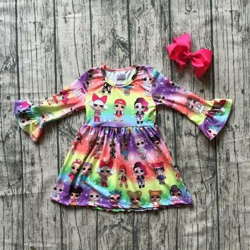 new milk silk Carton girls children clothes baby cotton Fall/Winter long sleeve ruffle dress boutique kids wear match clip bow