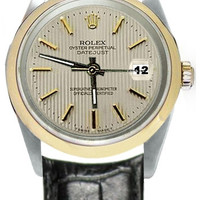White stick dial men�s Rolex watch black leather band SS & gold