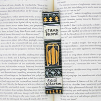 Hand Painted Bookmark // Ethan Frome Classic Hardcover // Book Spine Bookmark // Edith Wharton // Gift for Readers // Stocking Stuffer