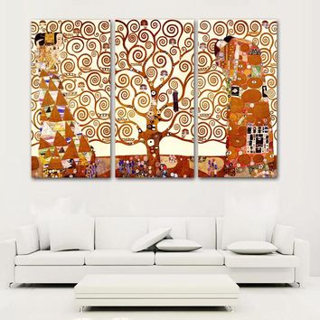 SELFLESSLY 3 Panels Canvas Painting Gustav Klimt Tree Of Life Wall Pictures For Living Room Wall Art Print Posters Unframed