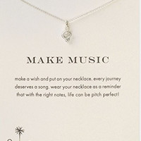 "Dogeared Make Music Treble Clef Sterling Silver 16""Box Necklace"