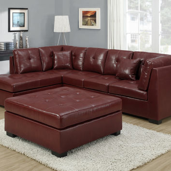 Sofa - Sectional - Red Bonded Leather - Match