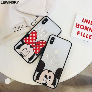 Relief Soft Edge Acrylic Back Cases For iphone 7 8 6 6s plus Minnie Mickey Mouse Case For iphone 6 s 7 8 X Fundas Coque Case