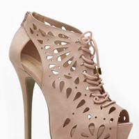 Wild Diva Nude Lace Up Mystical Peep Toe Bootie