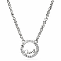 sterling coach script circle necklace