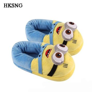 HKSNG Winter Animal Adult Minions Shark Panda Stitch Slippers Paw Claw Indoor Floor H
