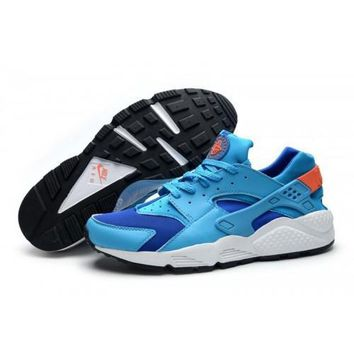 Men s Nike Air Huarache Shoes Gym Blue Photo Blue Bright Mango White 318429 402