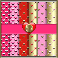 "COMMERCIAL USE OK 6 Digital Valentine Heart Scrapbook Papers, 12""x12"" 300Dpi Instant Download"