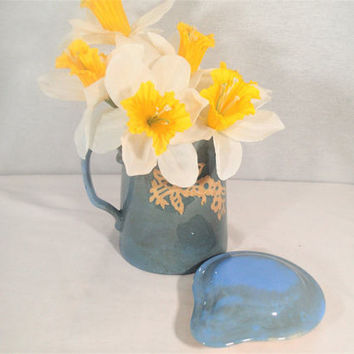 Harker Cameo Ware Zepher Batter Pitcher with cover, Dainty White branch of flower blossoms on blue stoneware crockery, Shabby Cottage Chic