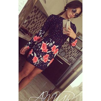 Summer Ladies Dresses Vintage Casual Fitness Floral Print Long Sleeve O-mini Dress Party Vestid