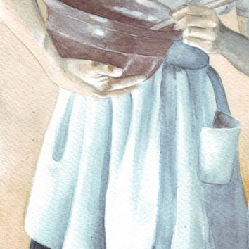 Original watercolor painting Woman with Mixing Ceramic Bowl and Apron art