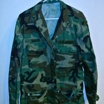 Mens Vintage Patched Camo Jacket (Medium/Long)
