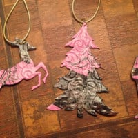Pink Camo Duct Tape Deer and Tree 3-Piece Christmas Ornament Set