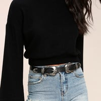 Into the West Black and Silver Double Buckle Belt