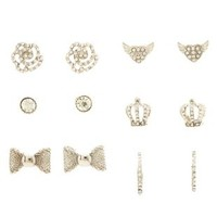 Silver Crown & Heart Stud Earrings - 6 Pack by Charlotte Russe