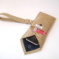 Recycled Necktie Wristlet Gold Black White iPhone by TearfulTouch