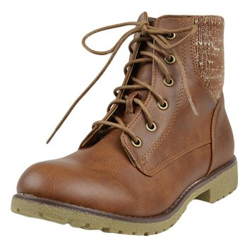 Womens Ankle Boots Knitted Ankle Lace Up Casual Riding Shoes Tan SZ