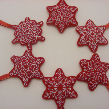 Celtic Knot Snowflake Embroidered Felt Christmas Ornaments Red and White - Set of 6 - Trinity Crossing