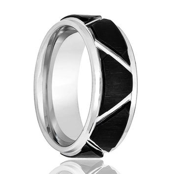 Aydins Silver Mens Tungsten Band Black Trapezoid Design Center 8mm Tungsten Carbide Wedding Ring