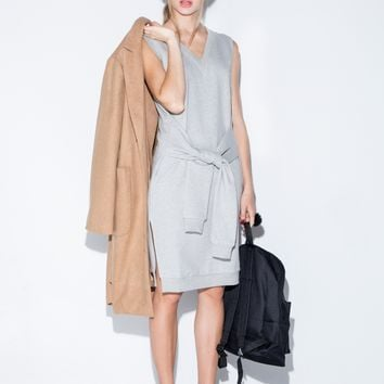 Grey Sleeve Tie Sweatshirt Dress