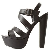 Black Strappy Chunky Heel Platform Sandals by Charlotte Russe