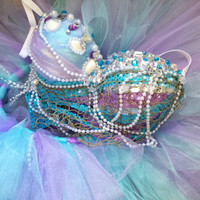 Iridescent Mermaid Outfit : rave bra, rave wear, festival, edm, edc, halloween