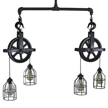 Industrial Style Double Pulley Light