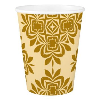 Golden Brown Damask Pattern Paper Cup