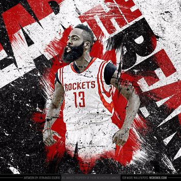 Free delivery James Harden Basketball poster wall art 90x60 cm