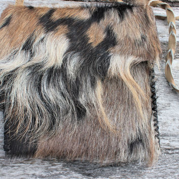 Extra Large Medicine Bag, Goat Leather and Multicolor Goat Fur, Braided Leather Strap, Shoulder Bag, Man Purse, Messenger