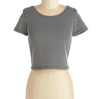 ModCloth Short Length Short Sleeves Cropped Who Would Have Dot? Top