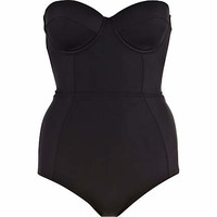 Black bustier tummy control swimsuit